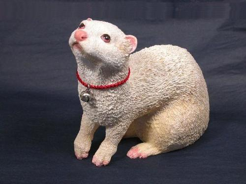 Albino Ferret Figurine Ferret Treasures Store
