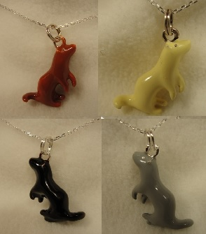 Ferret Enameled Charm on Sterling Chain Ferret Treasures Store