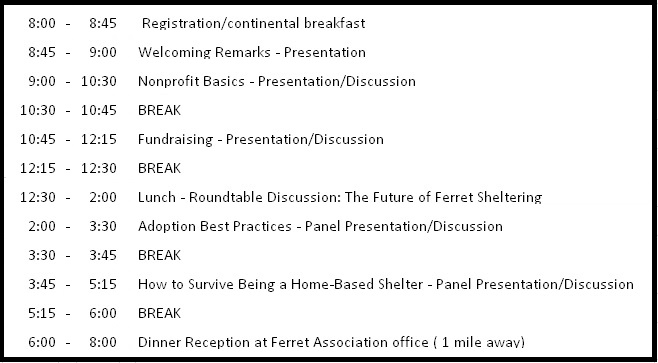 Ferret Shelter Forum 2016 Schedule